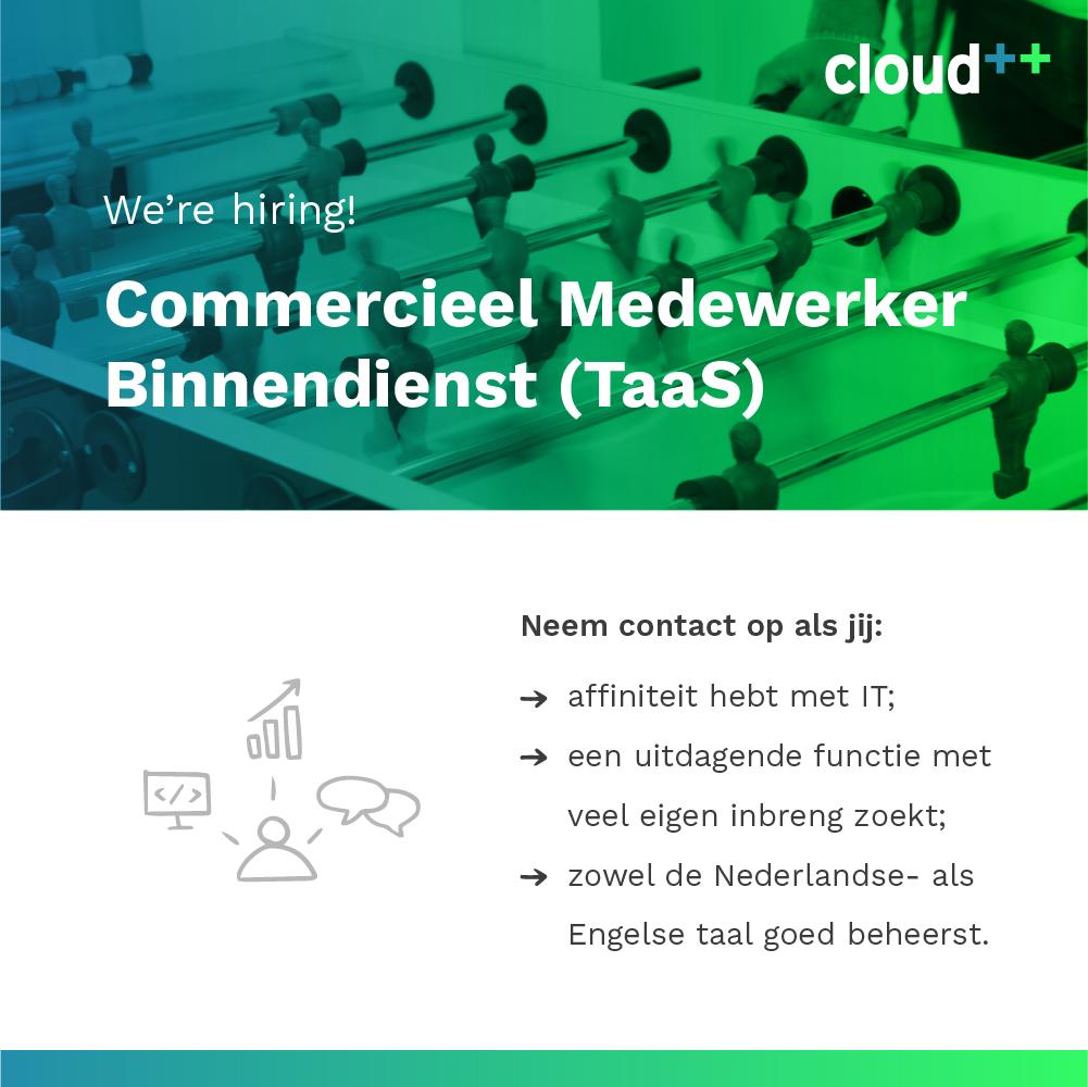 vacature Cloud++ commercieel medewerker binnendienst TaaS
